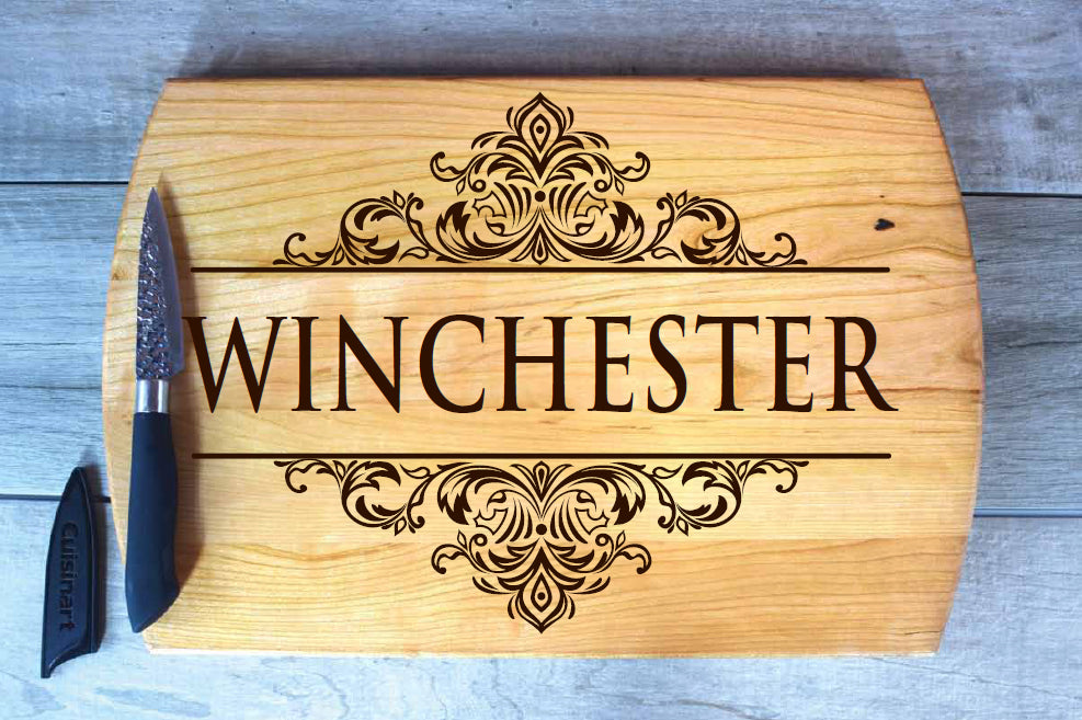large cutting board laser engraved winchester design made