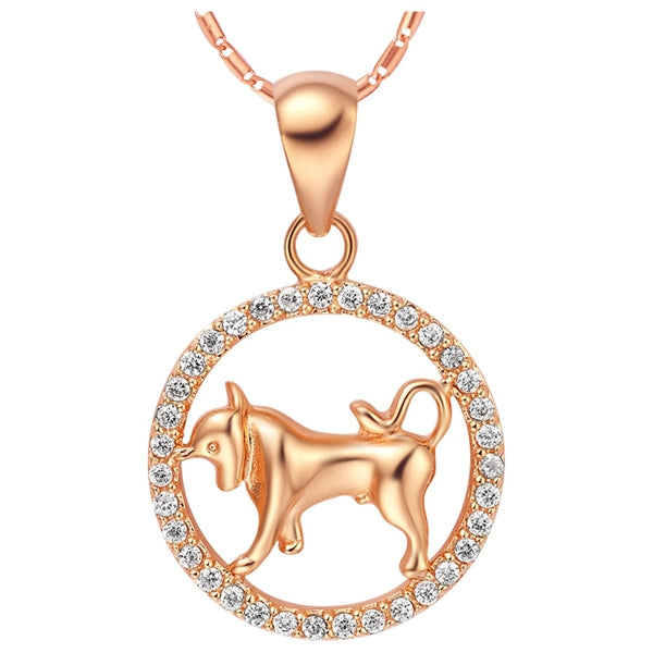 Rose Gold Zodiac Sign Necklace - Taurus