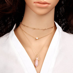 Triple Chain Crystal Choker Necklace
