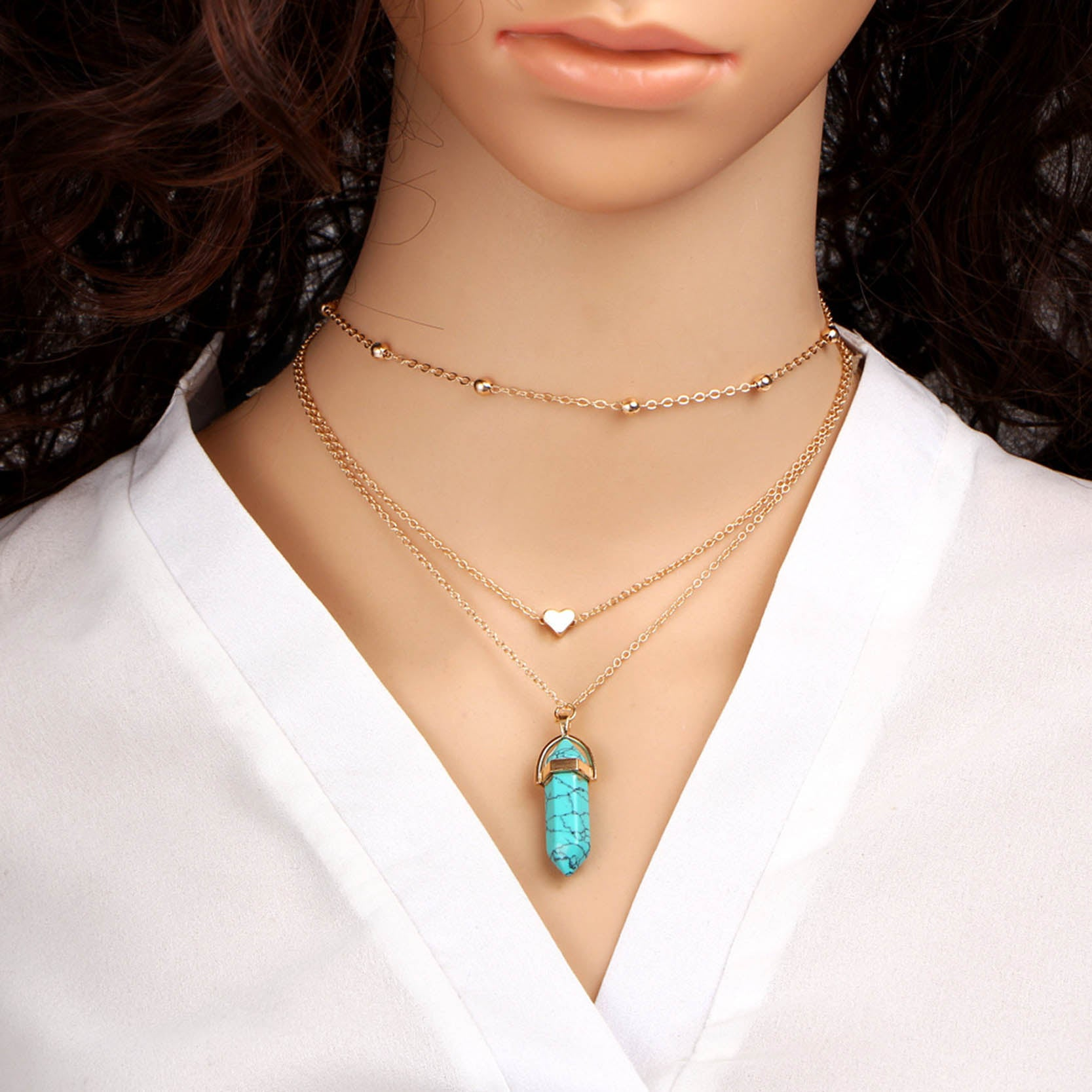 Triple Chain Crystal Choker Necklace - Turquoise