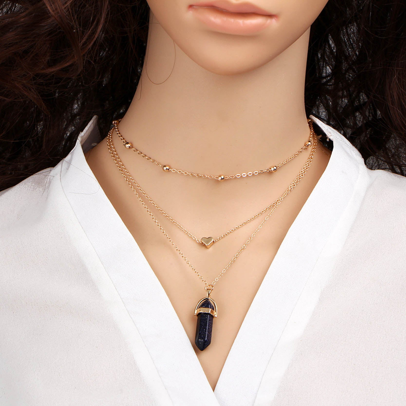 Triple Chain Crystal Choker Necklace - Hematite
