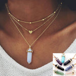 Triple Chain Crystal Choker Necklace - Opal