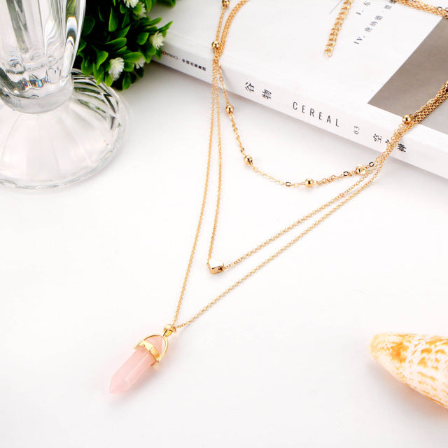 Triple Chain Crystal Choker Necklace - Rose Quartz