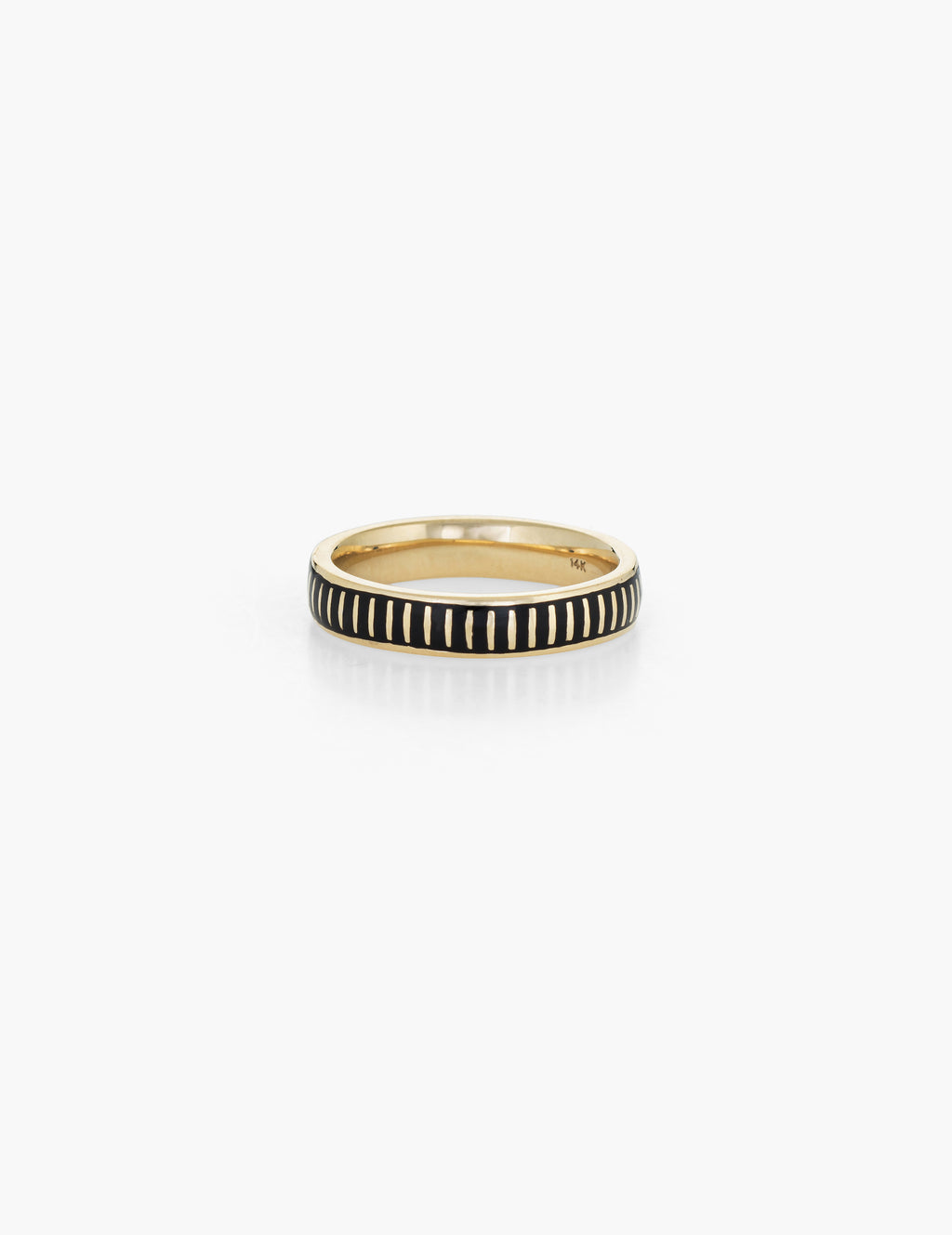 Striped Black Enamel Ring