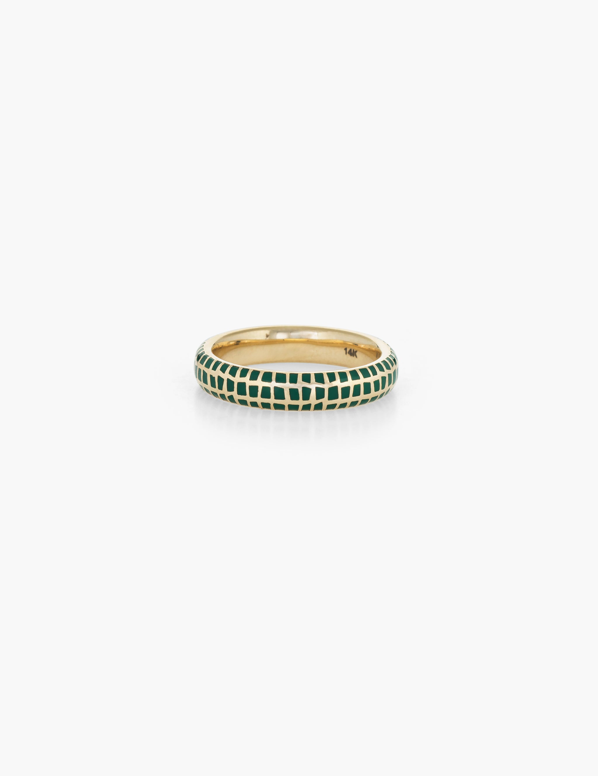 Checkered Enamel Ring - green