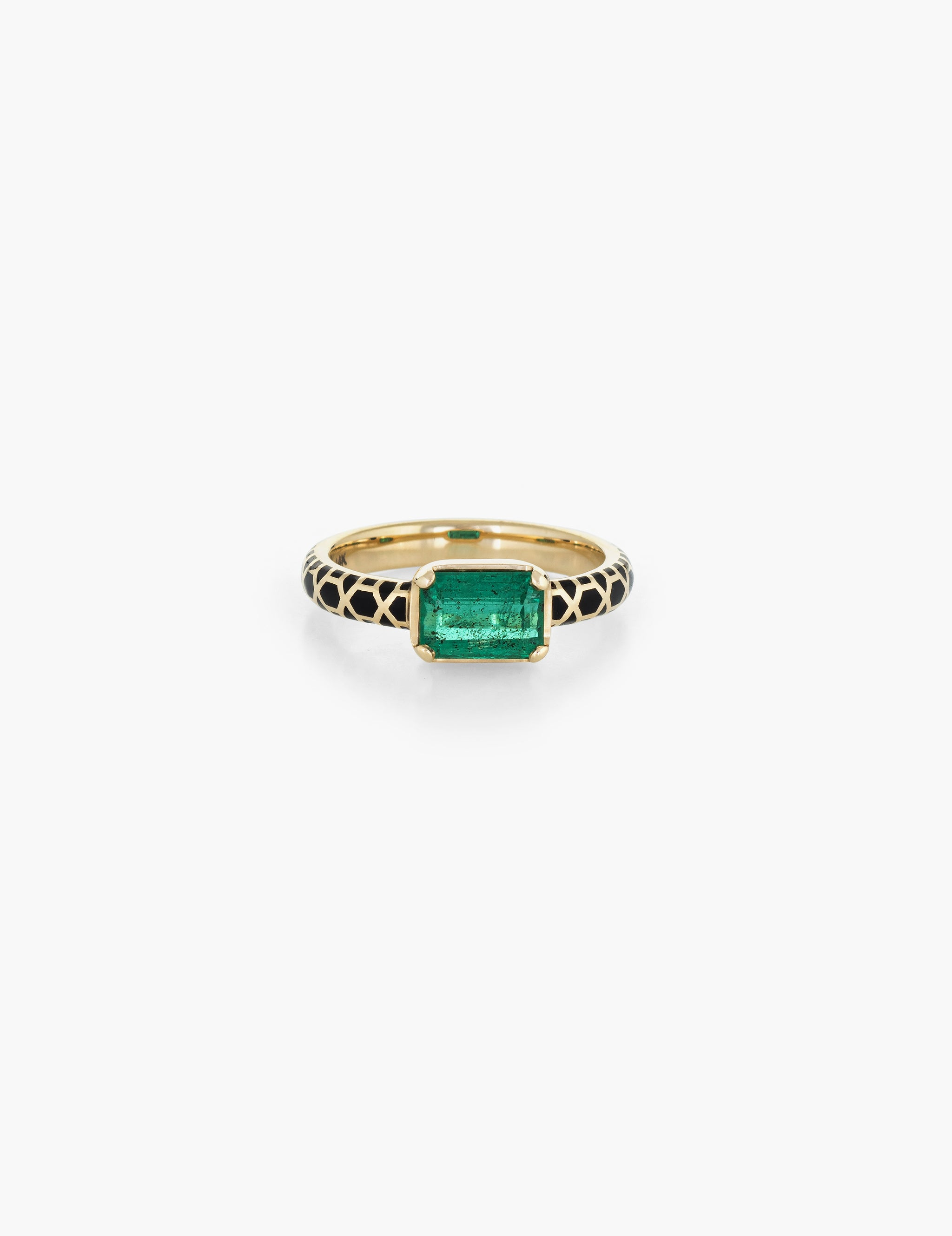 Emerald Step Cut Ring with enamel band