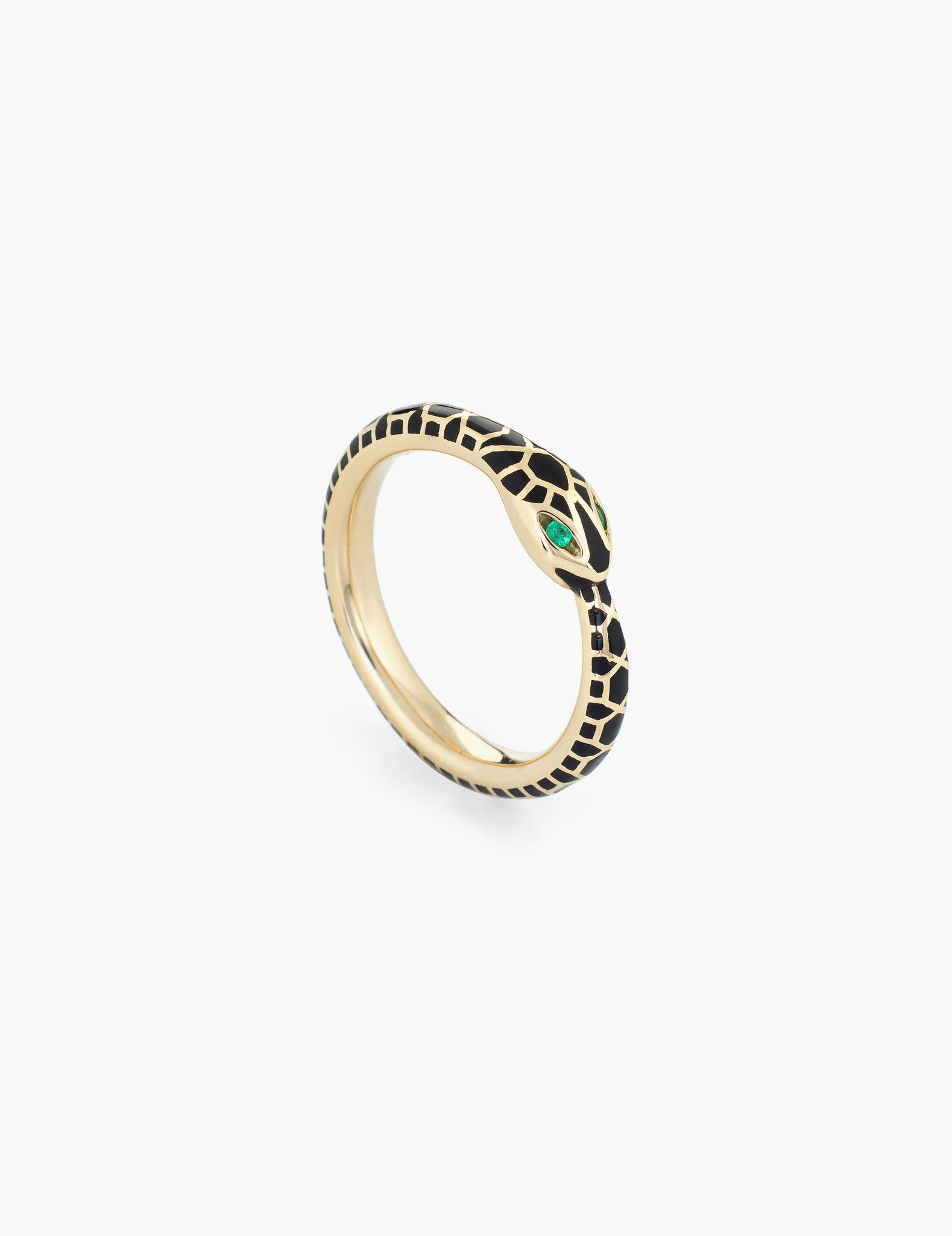 Enamel Ouroboros Ring - Black