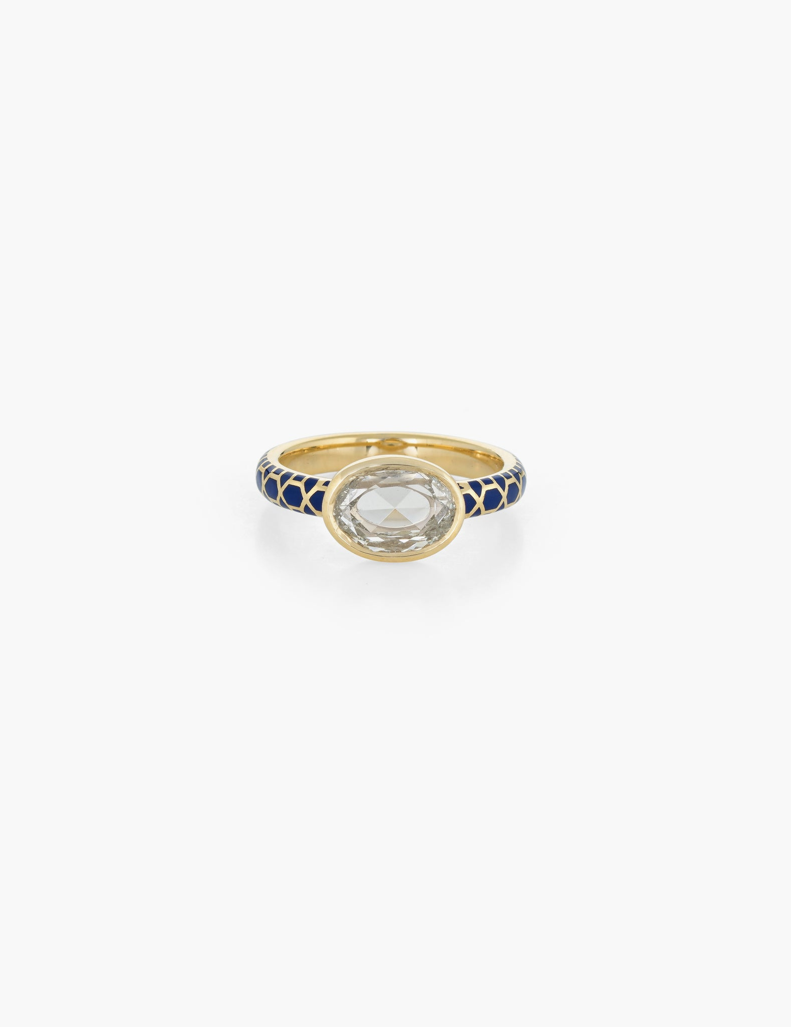 Rose Cut Diamond Ring with enamel band