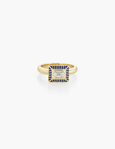 Deco Diamond Baguette Ring with enamel