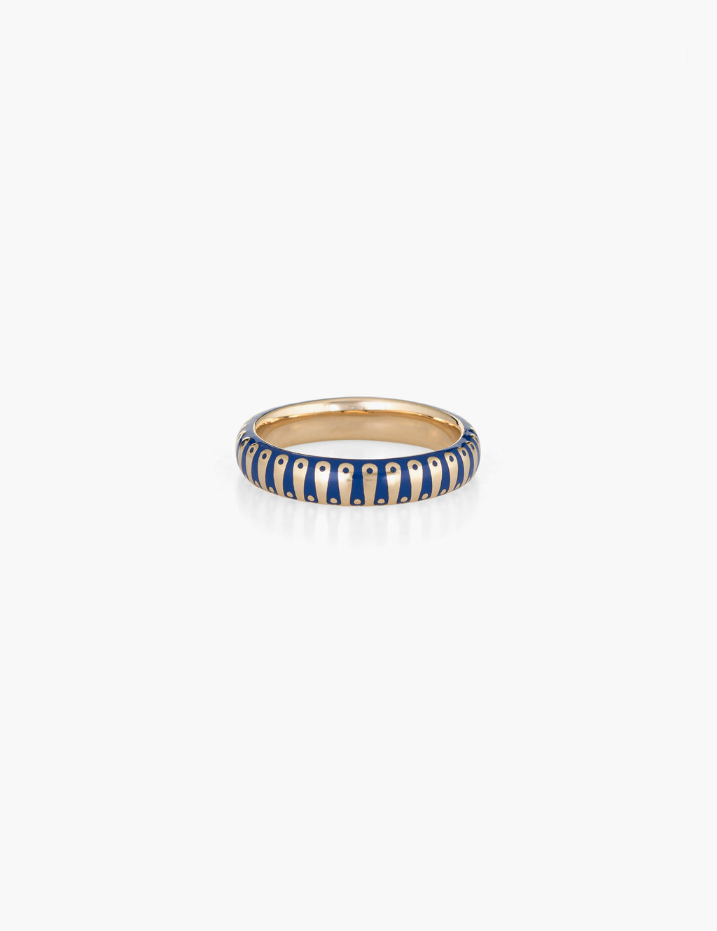 60's blue striped enamel 14K band