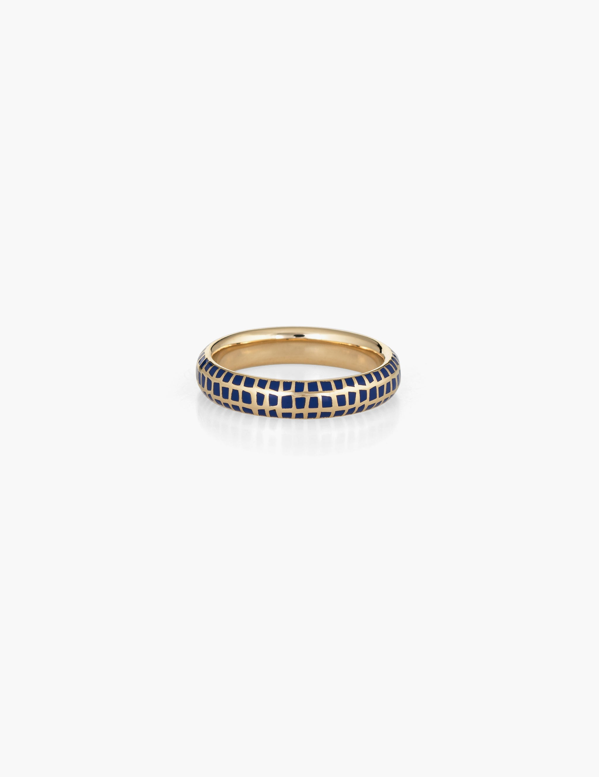 Checkered enamel ring - blue