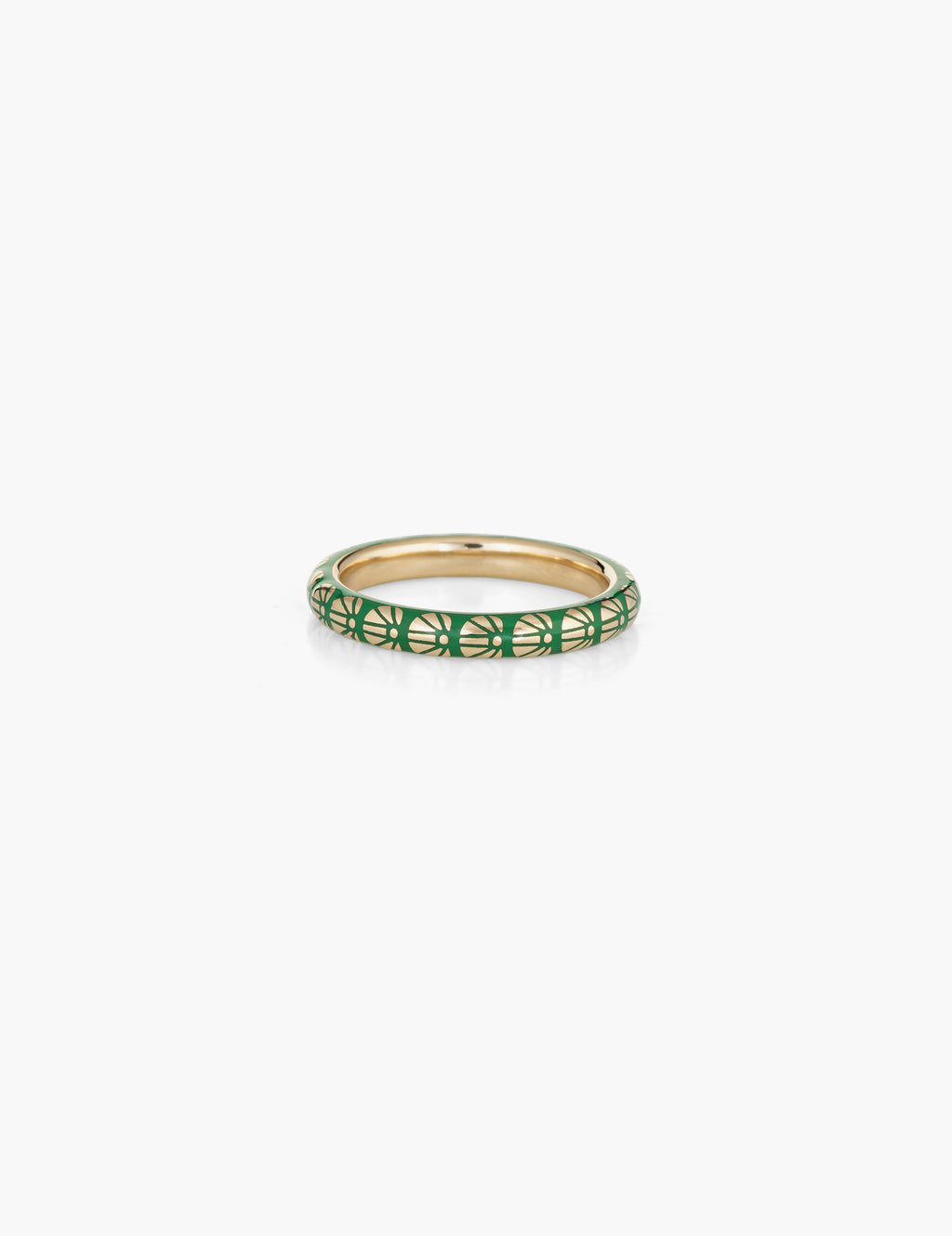 Green Flower Motif Enamel Ring