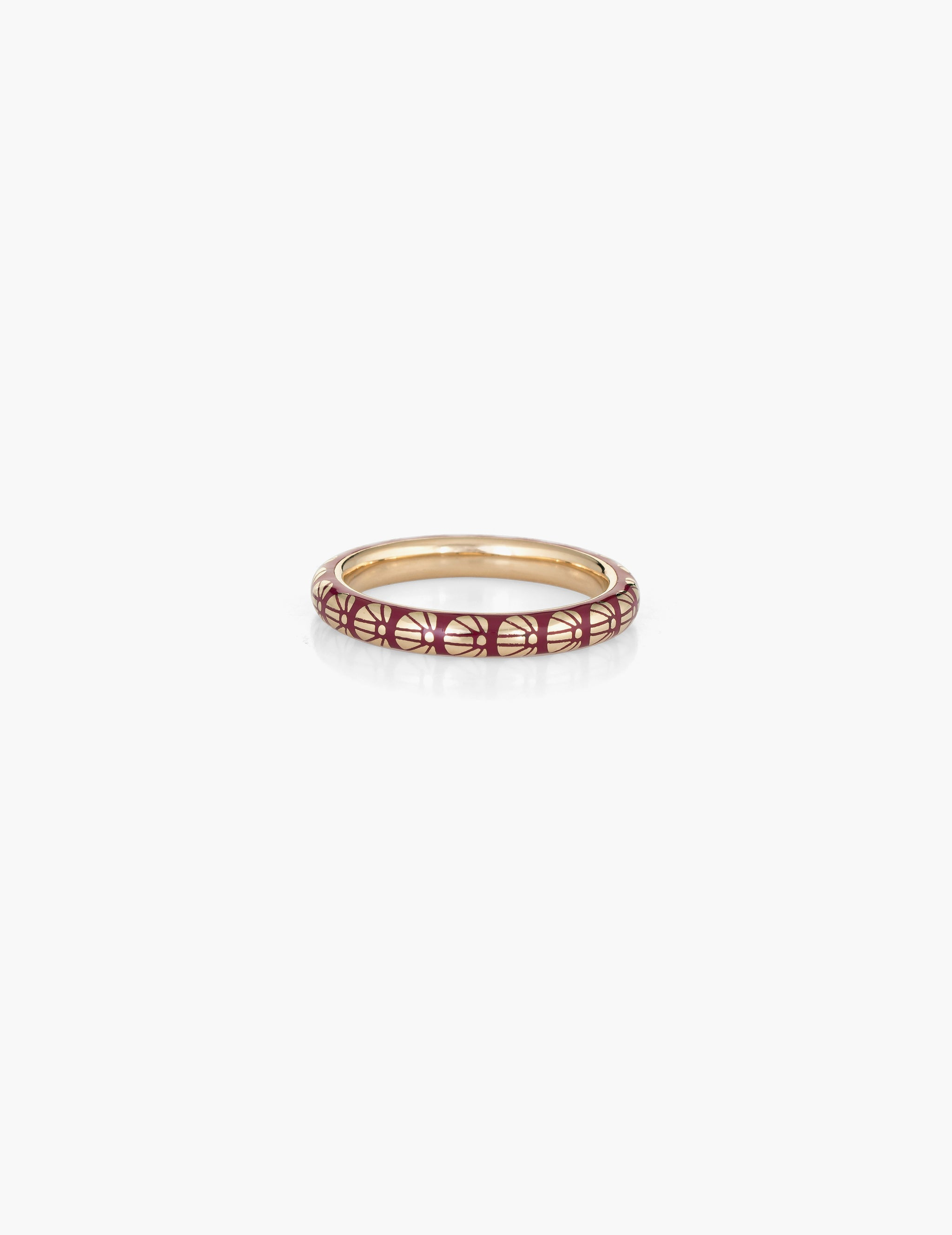 Burgundy Flower Motif Enamel Ring
