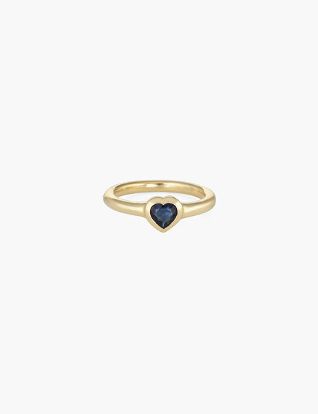 Small blue sapphire heart ring