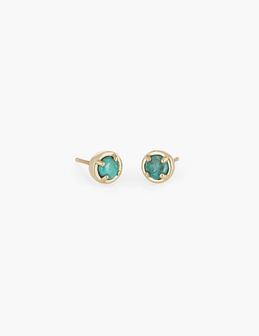 Turquoise large dot studs