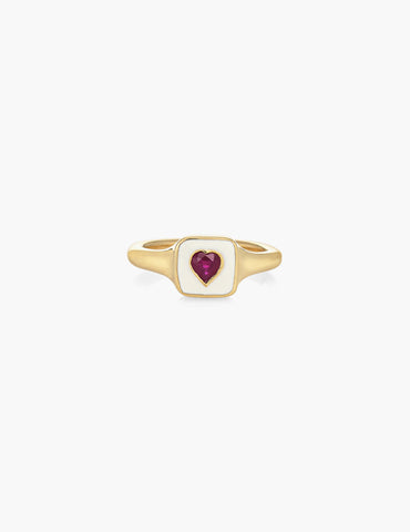 RUBY HEART SIGNET RING
