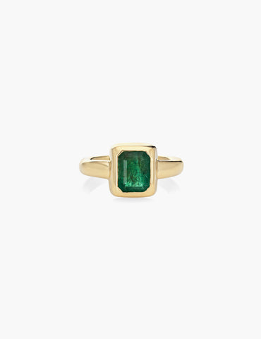 Hand Carved Emerald Ring Set in 18k