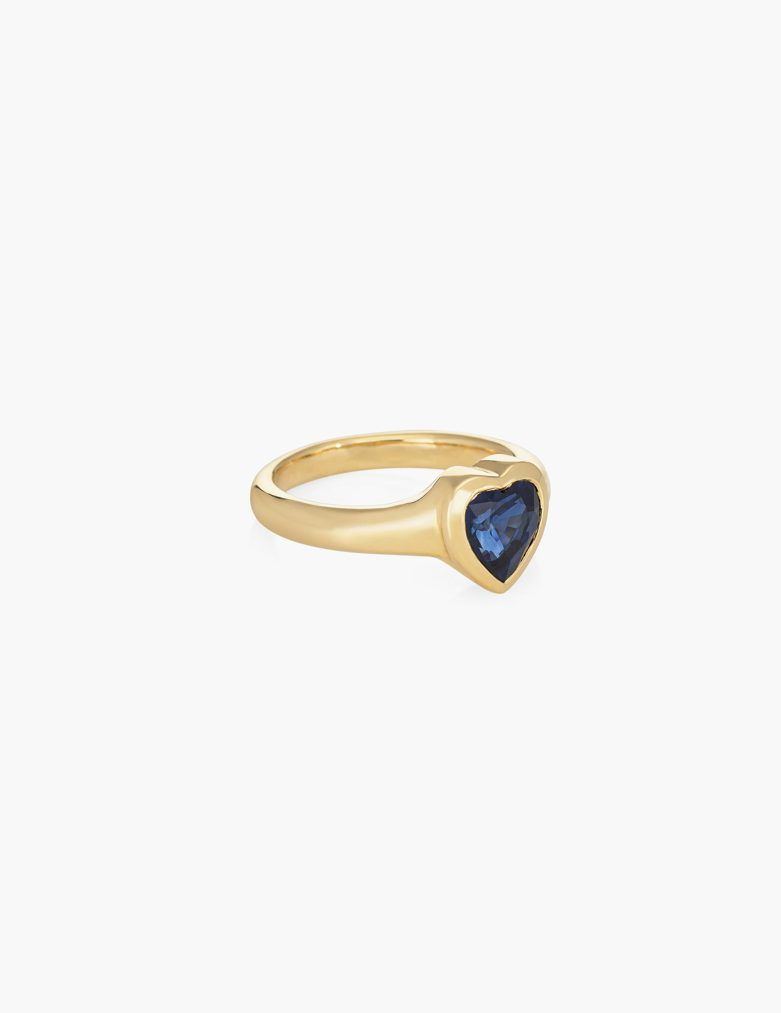 Large blue sapphire heart ring