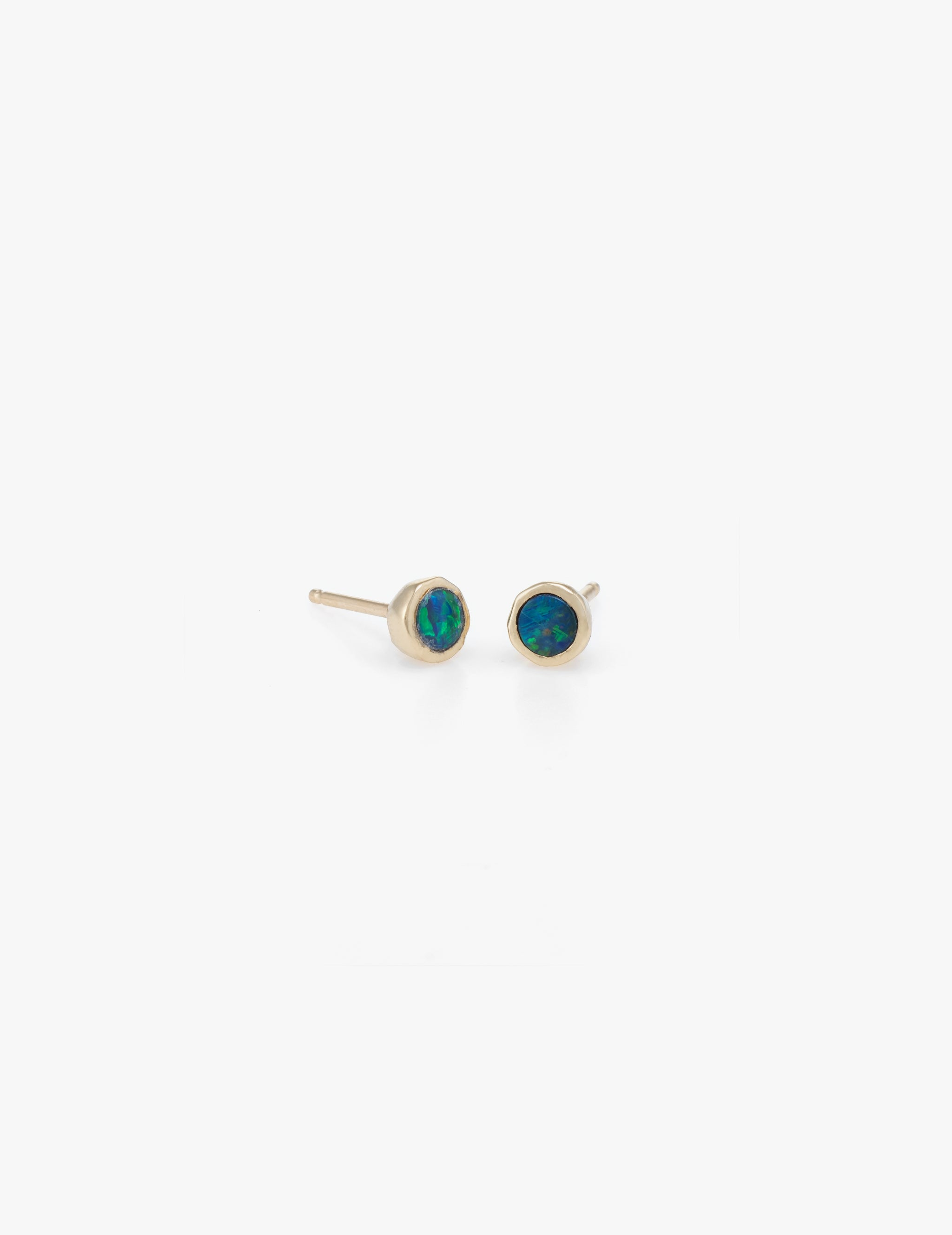 Tiny Dot Studs in Blue Opal