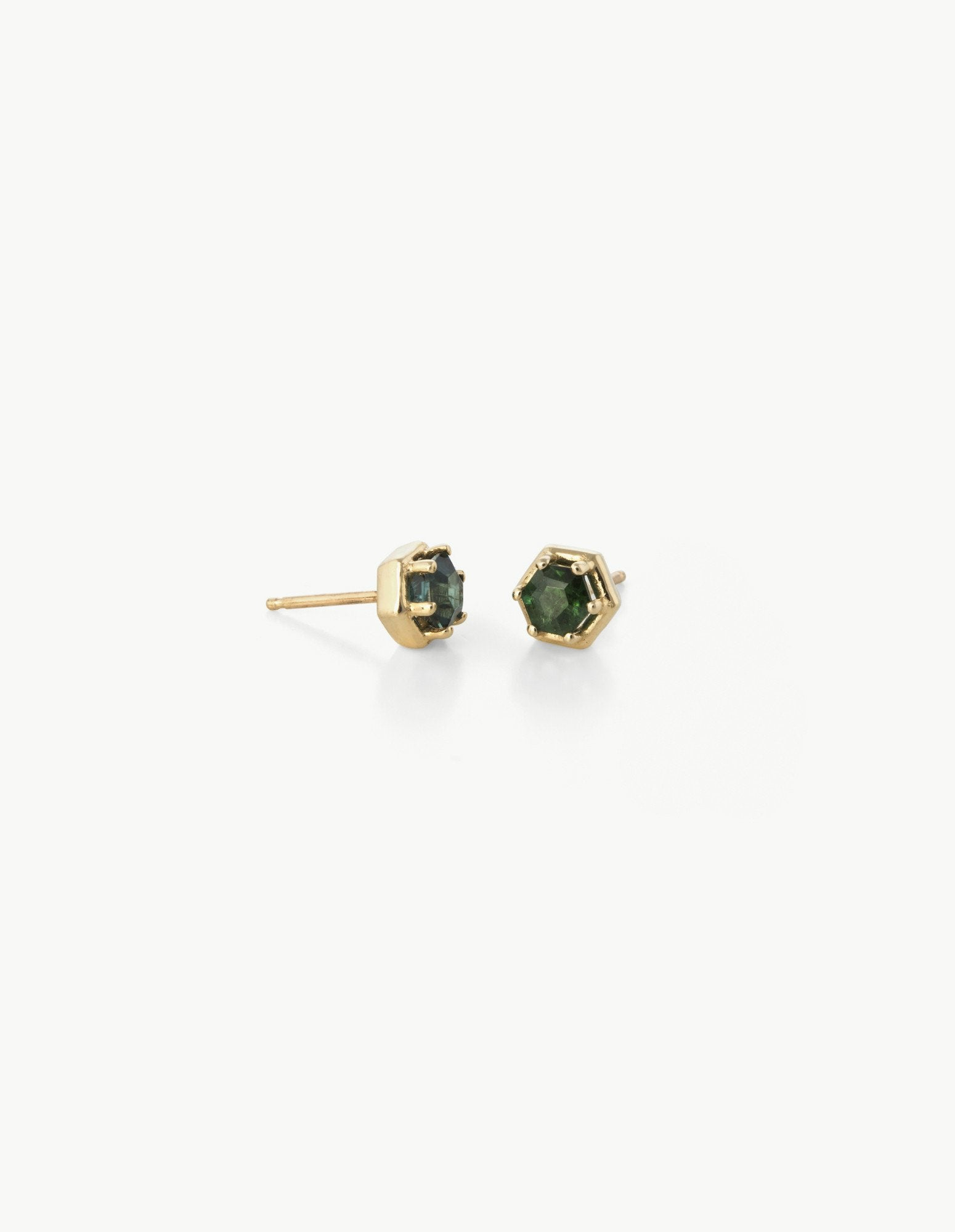 Hexagon Studs in Green Tourmaline - Dream Collective