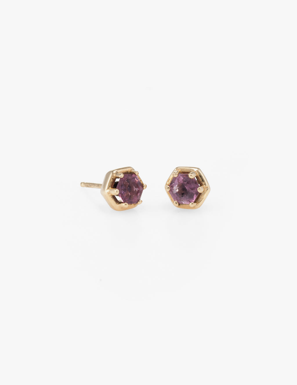 Hexagon Studs in Pink Tourmaline