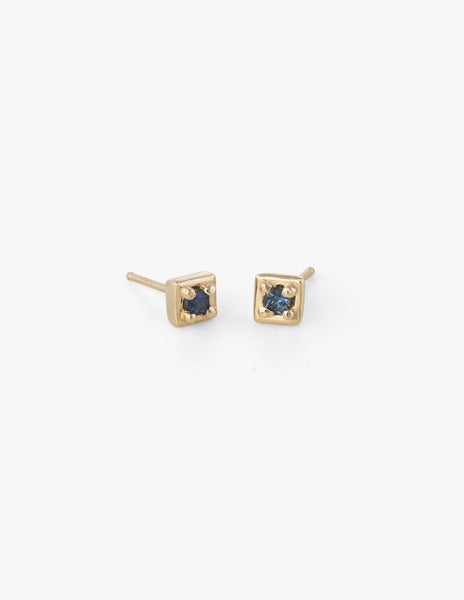 Tiny Square Studs in Blue Sapphire - Dream Collective