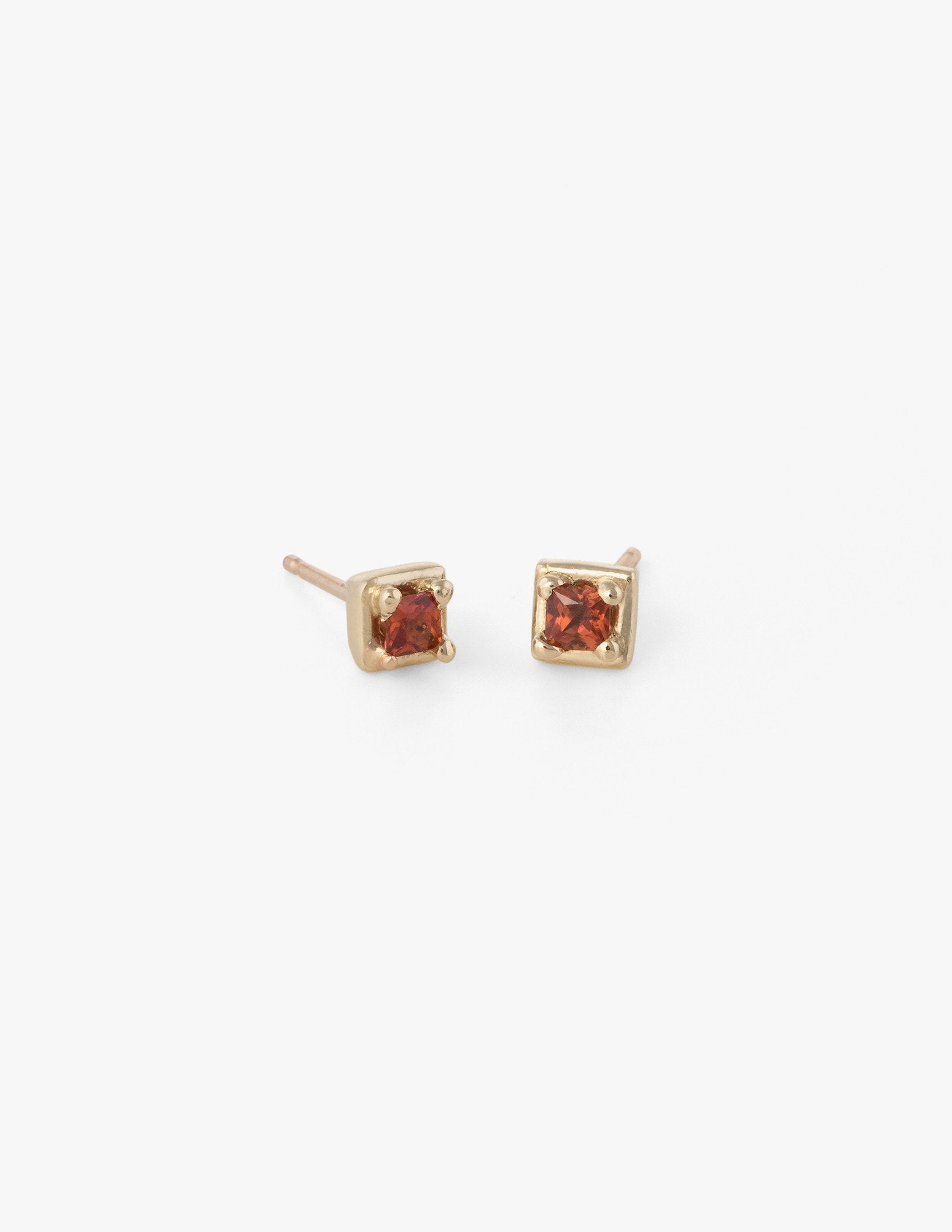Tiny Square Studs in Orange Sapphire - Dream Collective