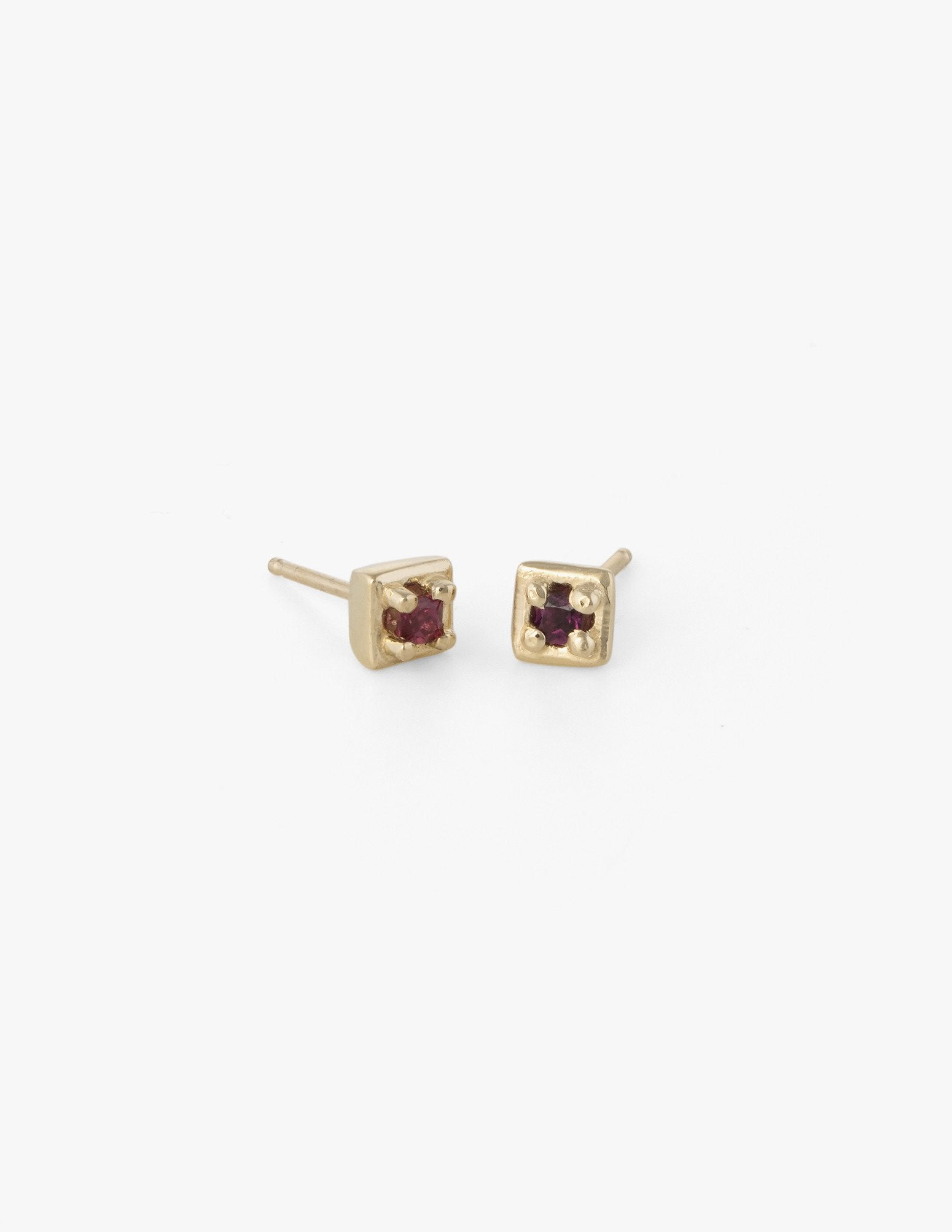 Tiny Square Studs in Red Sapphire - Dream Collective