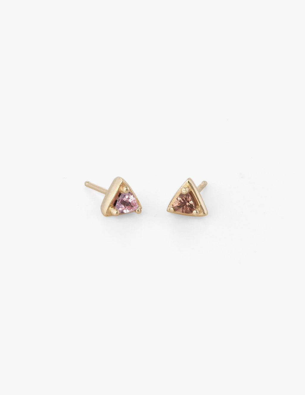 Tiny Triangle Studs in Pink Sapphire - Dream Collective
