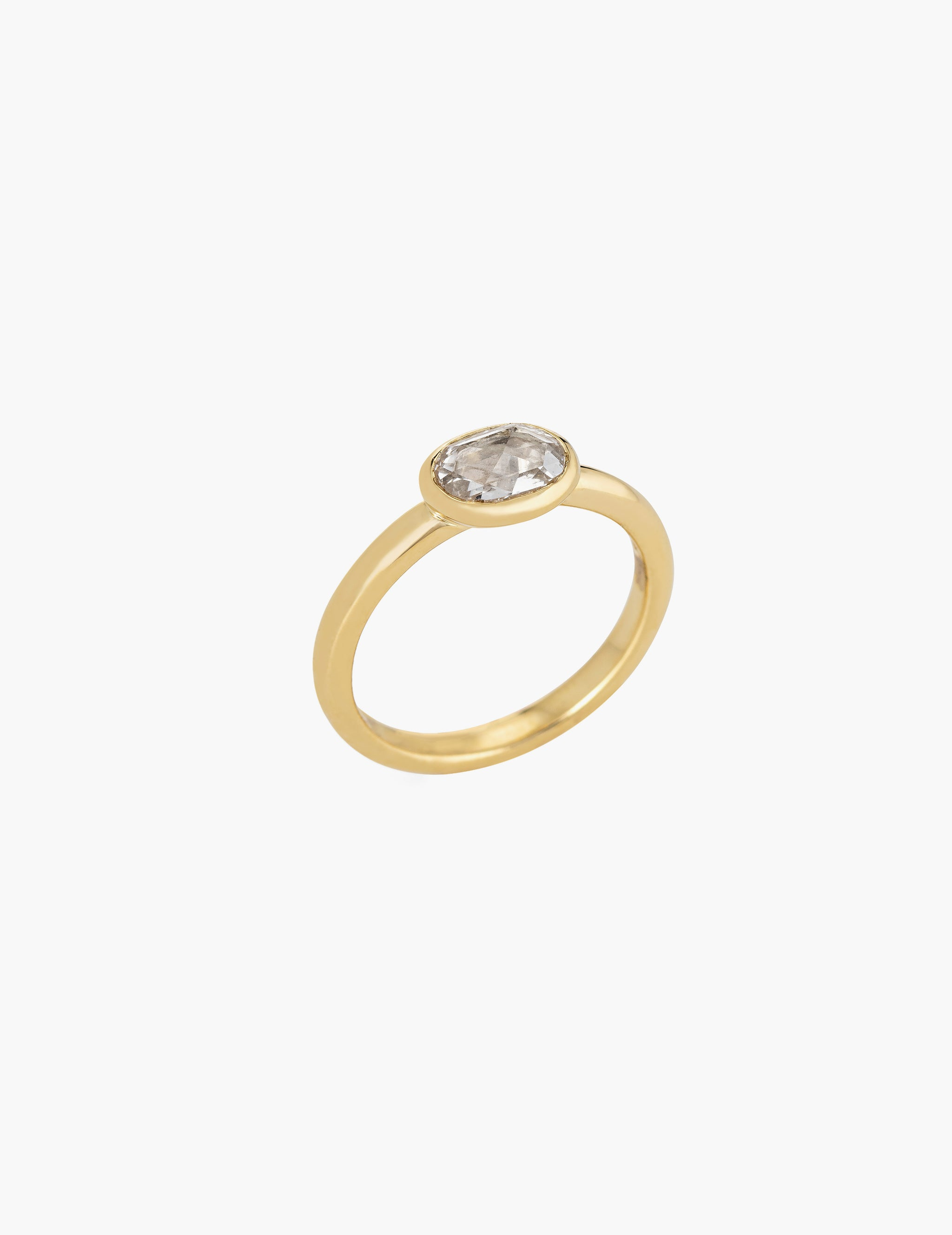 Oval Rose Cut Diamond Ring