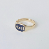 CUSTOM Signet Ring with Enamel 14k