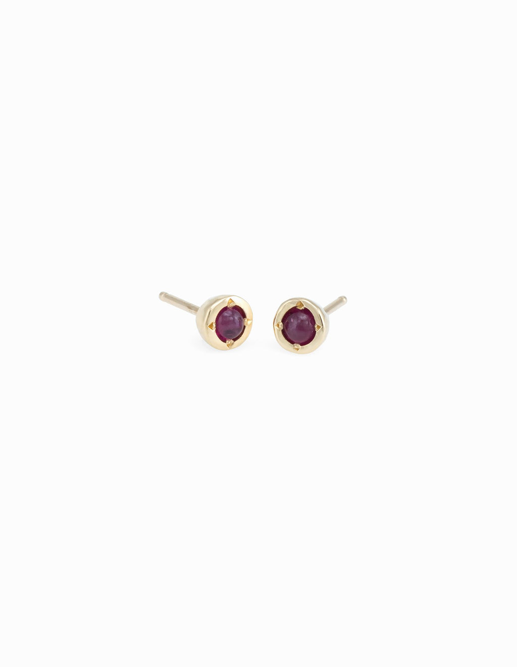 Tiny Dot Studs with Ruby Cabochons