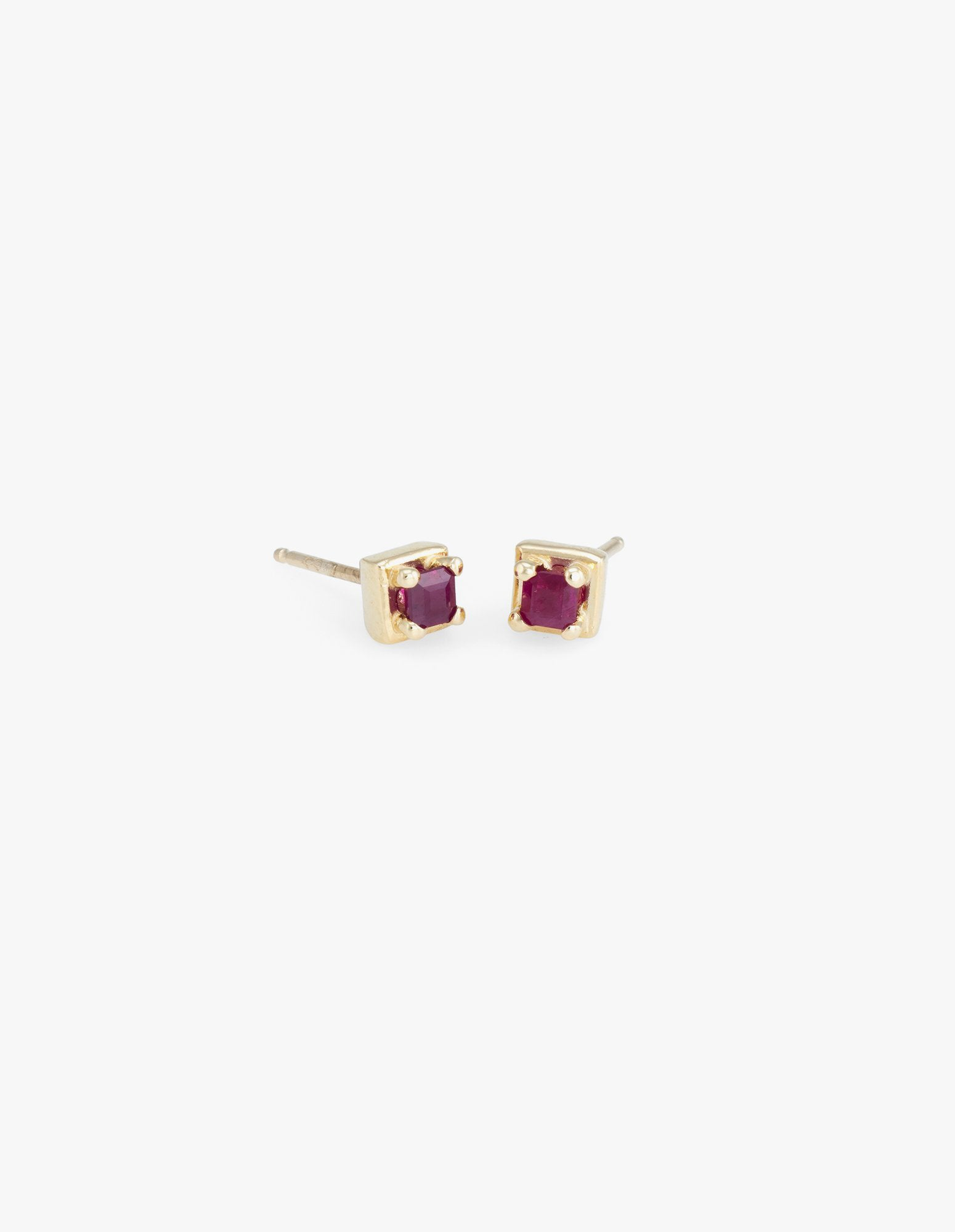 Tiny Square Studs in Ruby