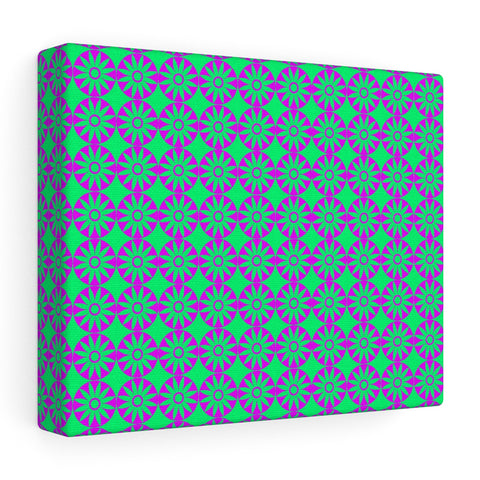 Canvas - Retro Flowers - Pink Green - Sample