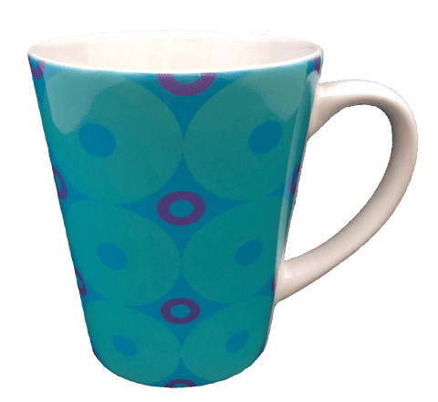 Latte Mug - Donuts - Turquoise, Blue, Purple