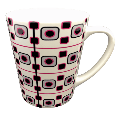 Latte Mug - Retro Pink & Black