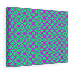 Canvas - Retro Flowers - Pink Green