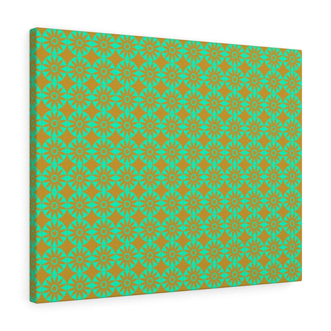 Canvas - Retro Flowers - Green Orange