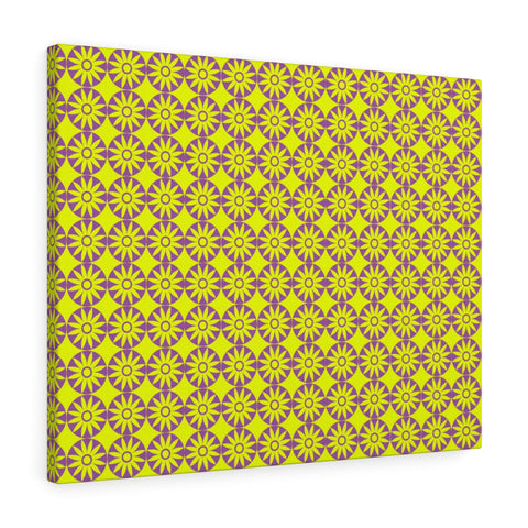 Canvas - Retro Flowers - Purple Yellow
