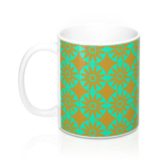 Mug - Retro Flowers - Green Orange
