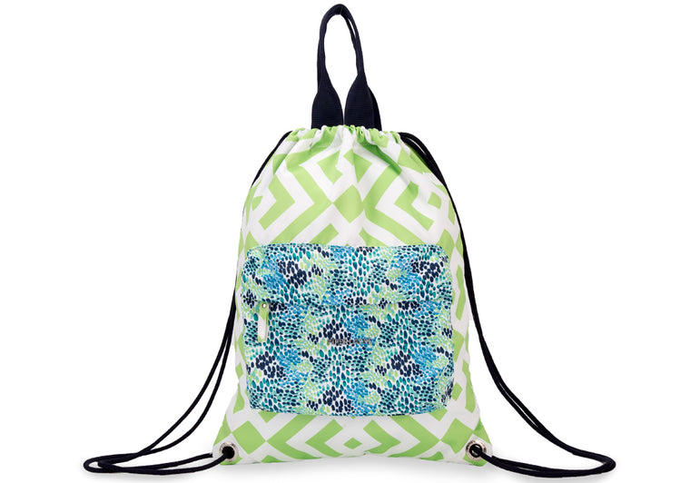 Brooke Green Drawstring Backpack