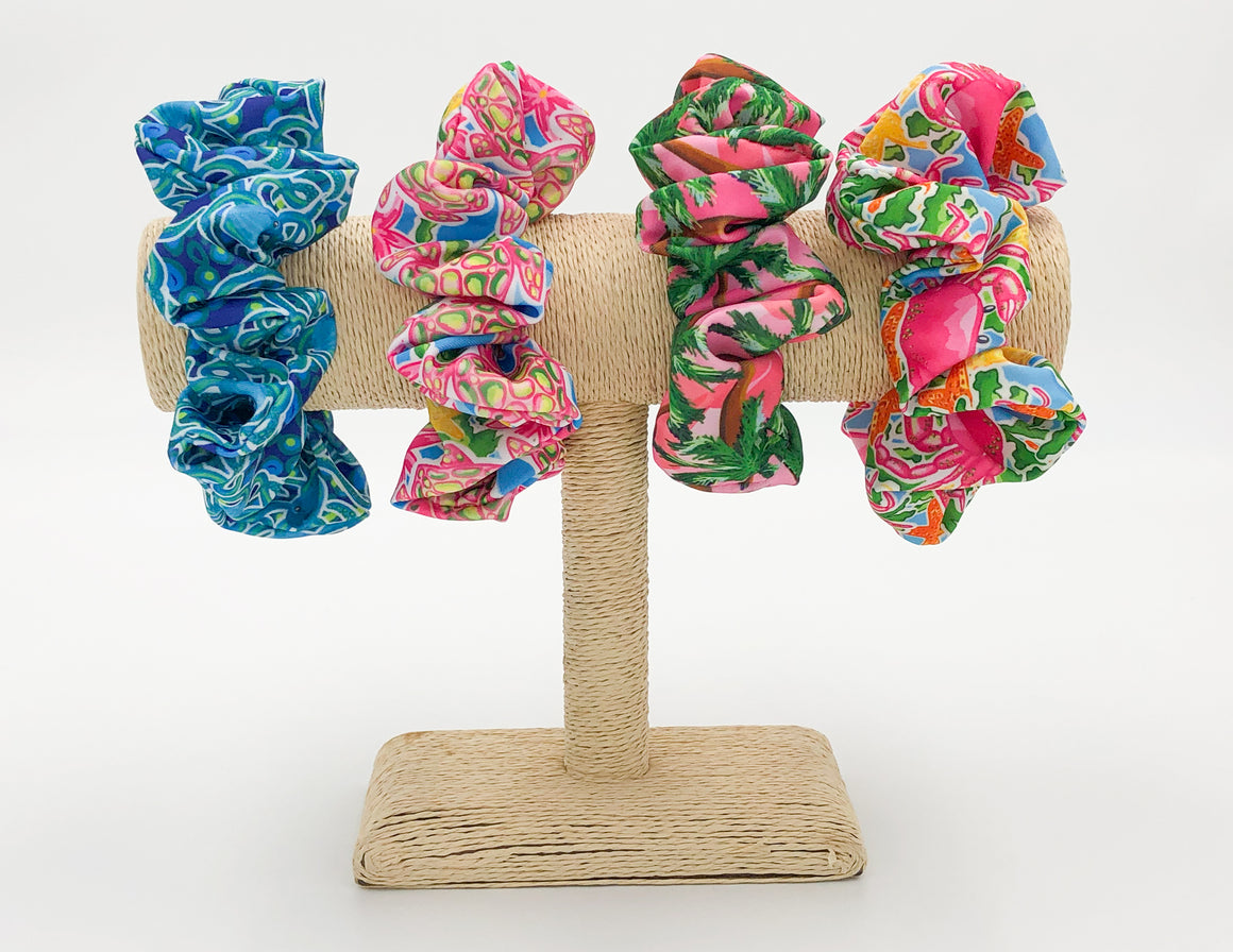 Salt & Palm Jumbo Hair Scrunchie - 4 Pack #2 (Octopus, Crab, Sea Turtle, Sunset)