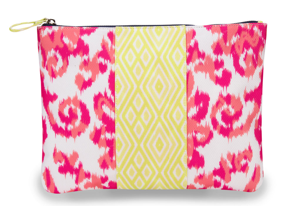 India Pink Color Block Clutch