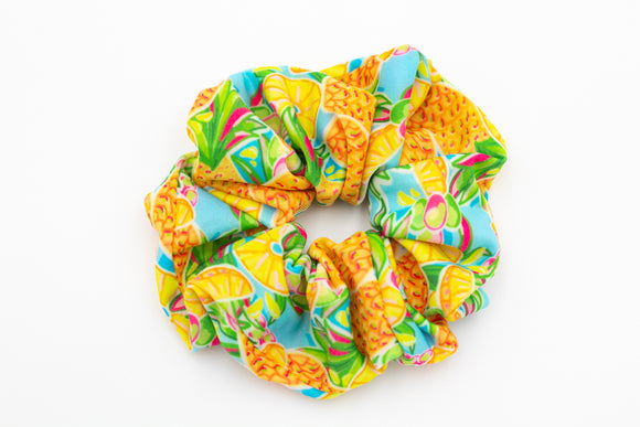 Salt & Palm Jumbo Hair Scrunchie - 4 Pack #1 (Pineapple, Lemons, Flamingo, Blow Fish)