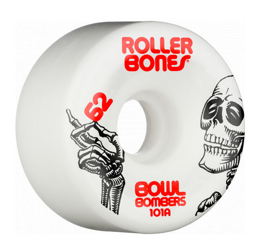 Rollerbones - Bowl Bombers 62mm 101a Wheels | White (8-Pack)
