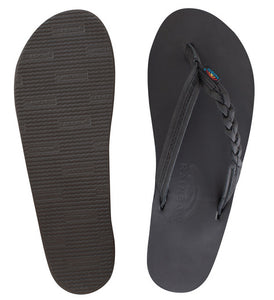 Rainbow - Women's Single Layer Leather Sandals | Black (Narrow Braid)