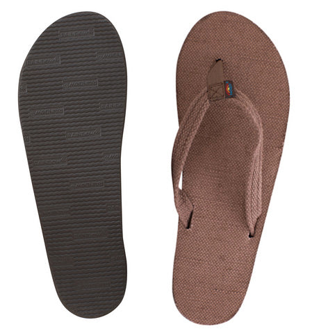 Rainbow - Women's Single Layer Hemp Sandals | Brown (Narrow Strap)