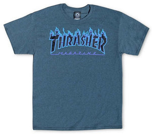 Thrasher - Flame Tee | Dark Heather Blue