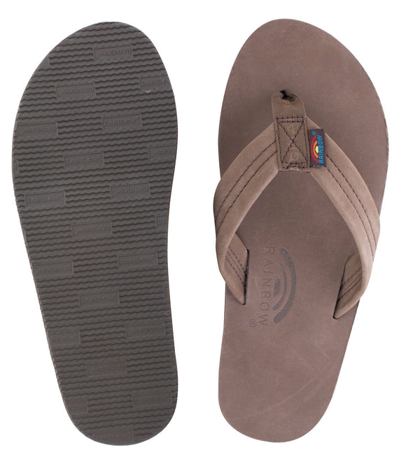 Rainbow - Men's Single Layer Leather Sandals | Expresso