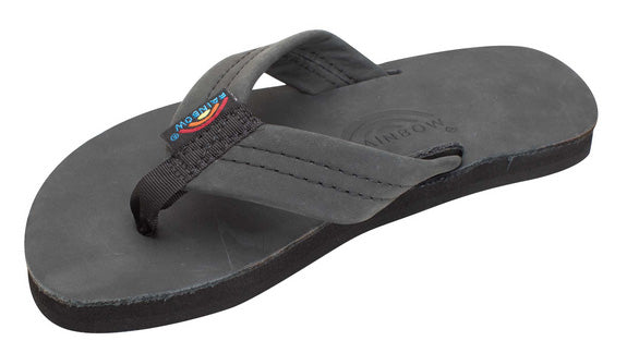 Rainbow - Kid's Single Layer Leather Sandals | Black